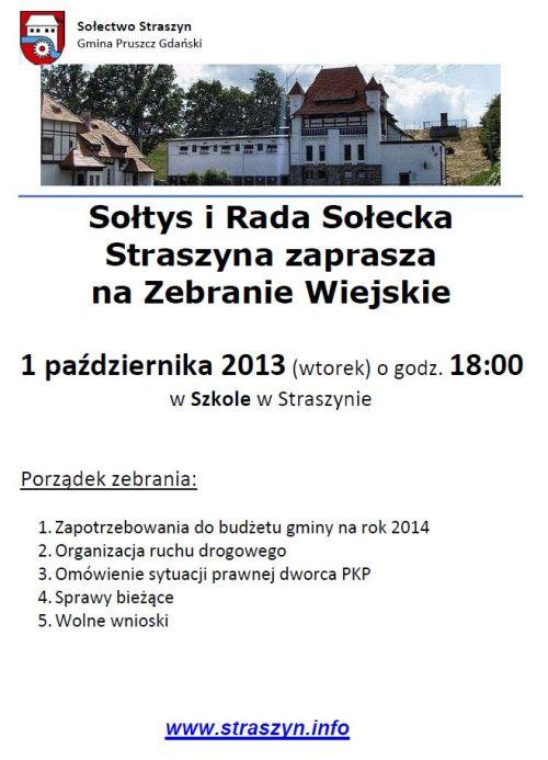 Zawiadomienie Zebranie Wiejskie (2013-10-01)